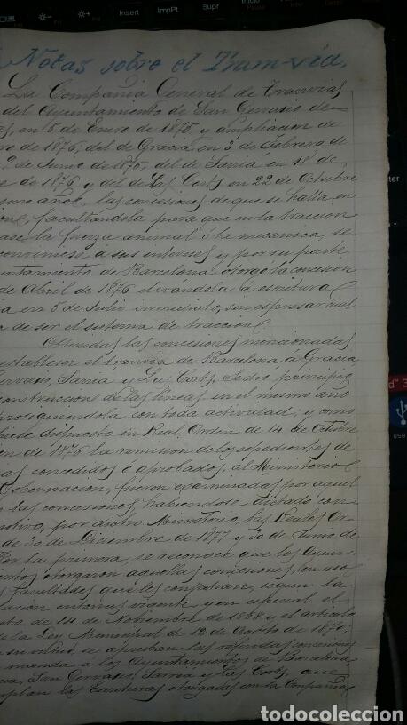 DOCUMENTOS SOBRE LA CREACIÓN DEL TRANVÍA EN BARCELONA AÑO 1876 (Coleccionismo - Documentos - Cartas Comerciales)