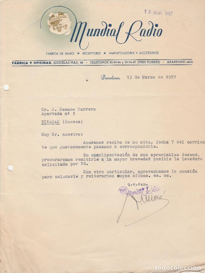 CARTA COMERCIAL. MUNDIAL RADIO. BARCELONA. 1957. (Coleccionismo - Documentos - Cartas Comerciales)