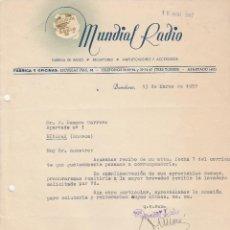 Cartas comerciales: CARTA COMERCIAL. MUNDIAL RADIO. BARCELONA. 1957.. Lote 79555585