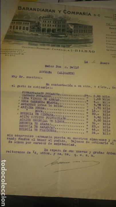 COTIZACIÓN BARANDIARAN Y COMPAÑIA SC, BILBAO 1935- PRODUCTOS QUIMICOS (Coleccionismo - Documentos - Cartas Comerciales)
