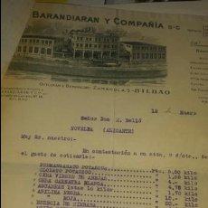 Cartas comerciales: COTIZACIÓN BARANDIARAN Y COMPAÑIA SC, BILBAO 1935- PRODUCTOS QUIMICOS. Lote 80003543