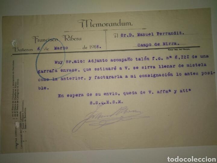 CARTA COMERCIAL FRANCISCO RIBERA A MANUEL FERRANDIZ DE FÁBRICA LICORES CAMPO DE MIRRA 1918 (Coleccionismo - Documentos - Cartas Comerciales)