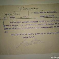 Cartas comerciales: CARTA COMERCIAL FRANCISCO RIBERA A MANUEL FERRANDIZ DE FÁBRICA LICORES CAMPO DE MIRRA 1918. Lote 80325921
