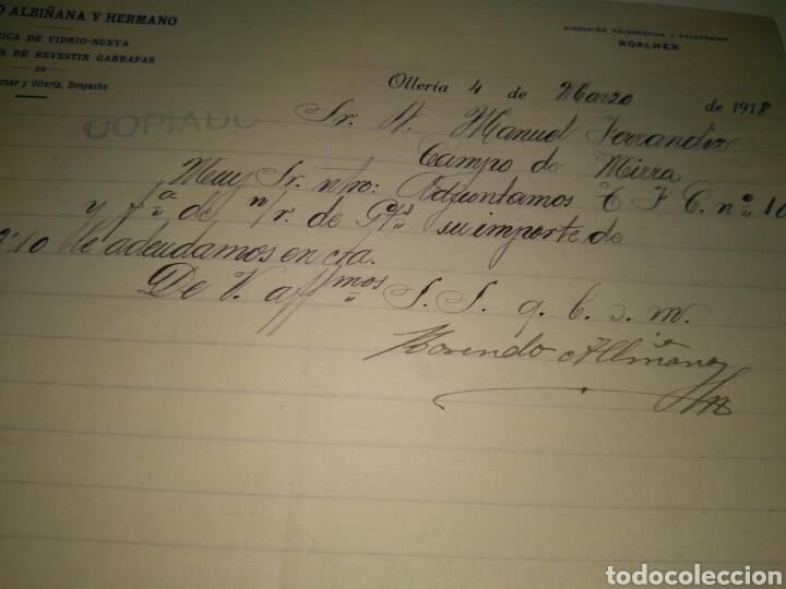 CARTA COMERCIAL ROSENDO ALBIÑANA Y HNO. FCA VIDRIO Y GARRAFAS A LICORES HERNANDEZ CAMPO MIRRA 1918 (Coleccionismo - Documentos - Cartas Comerciales)