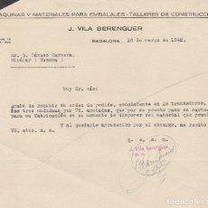Cartas comerciales: CARTA COMERCIAL. J. VILA BERENGUER. BADALONA. 1942.. Lote 80360993