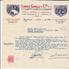 Cartas comerciales: CARTA COMERCIAL BAZA -GRANADA- TEJIDOS SAN LORENZO DE LORENZO GONZALEZ. Lote 80389025