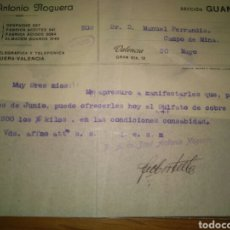 Cartas comerciales: JOSE ANTONIO NOGUERA - GUANOS- A MANUEL FERRANDIZ CAMPO DE MIRRA 1917. Lote 80395739