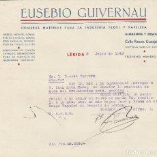 Cartas comerciales: CARTA COMERCIAL. EUSEBIO GUIVERNAU. LÉRIDA. 1948.. Lote 80759934