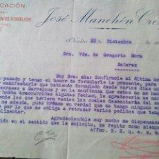 Cartas comerciales: CARTA COMERCIAL JOSÉ MANCHÓN CRESPO FÁBRICA DE YESO CAL Y CEMENTOS HIDRÁULICOS NOVELDA 1925. Lote 81017634
