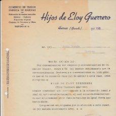 Cartas comerciales: CARTA COMERCIAL HUÉSCAR -GRANADA- DE TEJIDOS Y HARINAS HIJOS DE ELOY GUERRERO. Lote 81185892