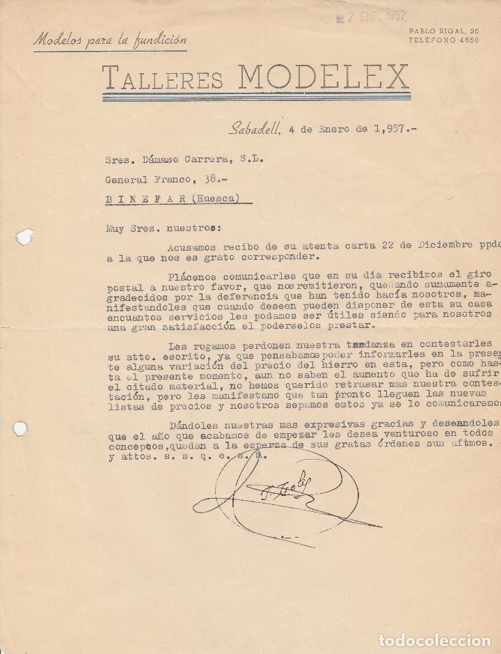 FACTURA  TALLERES MODELEX  SABADELL  1957