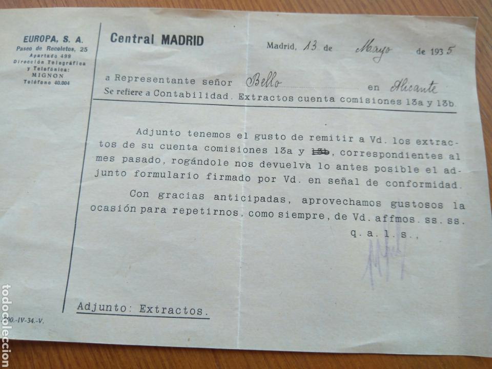 CARTA PAGO COMISIONES DE EUROPA S.A. MADRID 1935 (Coleccionismo - Documentos - Cartas Comerciales)