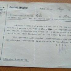 Cartas comerciales: CARTA PAGO COMISIONES DE EUROPA S.A. MADRID 1935. Lote 82188752