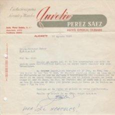Cartas comerciales: CARTA COMERCIAL. AURELIO PEREZ SÁEZ. AGENTE COMERCIAL COLEGIADO. ALICANTE. 1958.. Lote 84258148