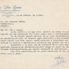 Cartas comerciales: CARTA COMERCIAL. JOSÉ VILLAR GARCÍA. ALICANTE. 1958.. Lote 84390916