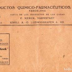 Cartas comerciales: VESIV SOBRE PRODUCTOS QUIMICOS FARMACEUTICOS S.A. BARCELONA PRODUCTOS MERCK DARMSTADT KNOLL . Lote 84669800