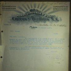 Cartas comerciales: CARTA MANUSCRITA - CON MEMBRETE - MONJO LIMOSNER Y PONS CUEROS Y CURTIDOS , S.A. - MAHÓN - AÑO 1922. Lote 84889032