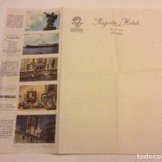 Cartas comerciales: PAPEL CARTA MAJESTIC HOTEL BARCELONA AÑOS 60 CON PUBLICIDAD COMERCIOS. Lote 87321208