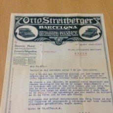 Cartas comerciales: ANTIGUA CARTA COMERCIAL FACTURA OTTO STREITBERGER MÁQUINAS DE ESCRIBIR BARCELONA 1918. Lote 89449064