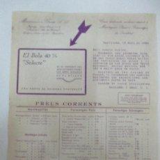 Cartas comerciales: CARTA DE PRESENTACIÓN - MASSANES I GRAU - MANTEQUILLES, FORMATGES, LISTA DE PREUS - 15 MARÇ 1934. Lote 90785820