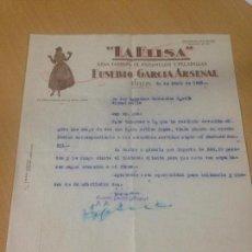 Cartas comerciales: ANTIGUA CARTA COMERCIAL FABRICA CARAMELOS Y PELADILLAS LA ELISA HELLIN ALBACETE. Lote 91384865
