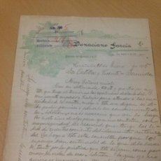 Cartas comerciales: ANTIGUA CARTA COMERCIAL FABRICA DE AGUARDIENTES ANISADOS MORATALLA MURCIA 1905. Lote 91388265