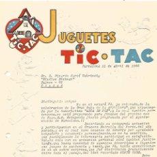 Cartas comerciales: DOCUMENTO CARTA JUGUETES TIC TAC A STUDIOS RICHMAN MAGIA ILUSIONISMO RELIEVES AÑO 1962 BARCELONA. Lote 91798100
