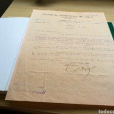 Cartas comerciales: DOCUMENTO DE LA CENTRAL DE FABRICANTES DE PAPEL DE TOLOSA. SEDE DE ALCOY. 15 DE MARZO DE 1940.. Lote 92017342