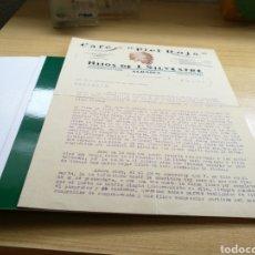 Cartas comerciales: RARO DOCUMENTO DE CAFÉS PIEL ROJA. HIJOS DE J. SILVESTRE. ALBAIDA (VALENCIA). 14 DE FEBRERO DE 1942. Lote 92017409