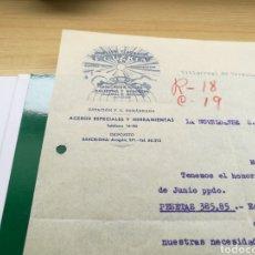 Cartas comerciales: DOCUMENTO DE LA GUERRA CIVIL MUELLES Y ACEROS EGUZKIA DE GUIPÚZCOA. 16 AGOSTO 1939. SELLO VICTORIA. Lote 92017584