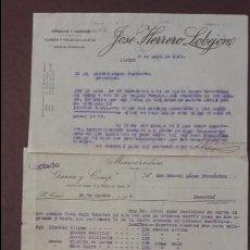 Cartas comerciales: LOTE TRES DOCUMENTOS COMERCIALES LOBEJON GARCÍA SANTALLA. Lote 95213203