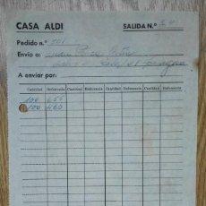 Cartas comerciales: ENVÍO GRATIS. CASA ALDI. IMPRESO DE PEDIDO. ENVÍO A ZARAGOZA.. Lote 96105379