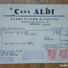 Cartas comerciales: ENVÍO GRATIS. CASA ALDI. VASOS FILTRO GASOLINA BARCELONA. SELLO FISCAL.. Lote 96105419