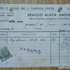Cartas comerciales: ENVÍO GRATIS. FÁBRICA DE ARTÍCULOS PARA LA PULIMENTACIÓN BRAULIO ÁLAVA, ZARAGOZA. SELLO FISCAL.. Lote 96105471