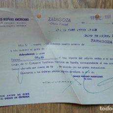 Cartas comerciales: ENVÍO GRATIS. BANCO HISPANO AMERICANO ZARAGOZA. COMPAÑÍA TELEFÓNICA 1951. Lote 96105527
