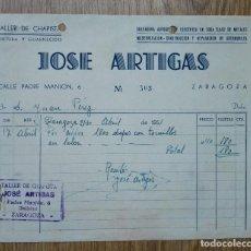 Cartas comerciales: ENVÍO GRATIS. TALLER DE CHAPISTA JOSÉ ARTIGAS. BARRIO DELICIAS ZARAGOZA, 1951.. Lote 96105699