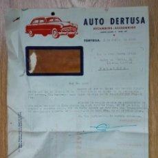 Cartas comerciales: ENVÍO GRATIS. AUTO DERTUSA. RECAMBIOS ACCESORIOS TORTOSA 1951.. Lote 96105739