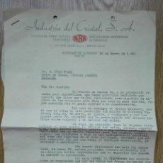 Cartas comerciales: ENVÍO GRATIS. INDUSTRIA DEL CRISTAL S. A. INCRISA. CARTA COMERCIAL 1951. Lote 96105775