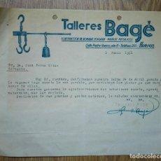 Cartas comerciales: ENVÍO GRATIS. TALLERES BAGÉ. ROMANAS FORJADAS Y MUEBLES METÁLICOS. HUESCA, 1951. Lote 96105907