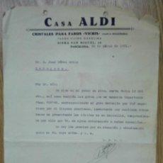 Cartas comerciales: ENVÍO GRATIS. CASA ALDI. CRISTALES PARA FAROS VICRIS. BARCELONA, 1951. Lote 96105979