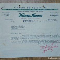 Cartas comerciales: ENVÍO GRATIS. ALMACÉN DE COLONIALES VICENTE SERRANO. CALAMOCHA, TERUEL, 1951. Lote 96106023