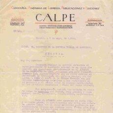 Cartas comerciales: CALPE (PUBLICACIONES Y EDICIONES). MADRID. 7-MAYO-1920. Lote 96142143