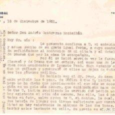 Cartas comerciales: J.CORTÉS VIDAL (COMISIONISTA), BARCELONA.CARTA A LIBRILLA, MURCIA CARTA 18-12-1951. Lote 96182151