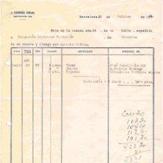 Cartas comerciales: J.CORTÉS VIDAL (COMISIONISTA),BARCELONA. NOTA DE ENTREGA Y CARTA DEL 28-10-1954. Lote 96182419