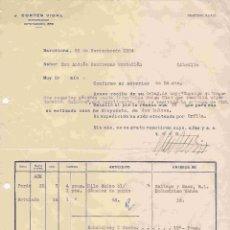 Cartas comerciales: J.CORTÉS VIDAL (COMISIONISTA), BARCELONA. NOTA DE ENTREGA DEL 26-11-1954. Lote 96182859
