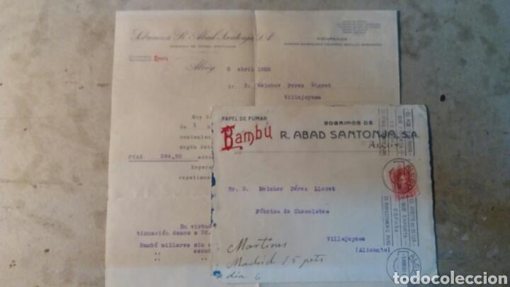 CORREOS. BAMBÚ R.ABAD SANTONJA S.A. ALCOY ALICANTE. A VILLAJOYOSA. FÁBRICA DE CHOCOLATE. (Coleccionismo - Documentos - Cartas Comerciales)