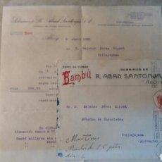 Cartas comerciales: CORREOS. BAMBÚ R.ABAD SANTONJA S.A. ALCOY ALICANTE. A VILLAJOYOSA. FÁBRICA DE CHOCOLATE.. Lote 98892395