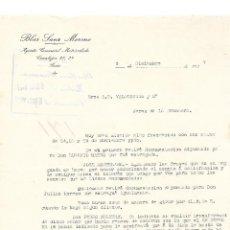 Cartas comerciales: CARTA COMERCIAL. BLAS SANZ MORENO. AGENTE COMERCIAL. SORIA. ESPAÑA 1927. Lote 99001931
