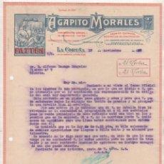 Cartas comerciales: AGAPITO MORALES FATTEN. LA CORUÑA. ABONOS QUÍMICOS, MATERIALES DE CONSTRUCCION. FIRMA PROPIETARIO. Lote 99421095