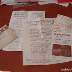 Cartas comerciales: FOLLETO CULTIVO DEL CHAMPIÑON E IMPRESOS DE PUBLICIDAD,BOLETIN DE PEDIDO.VEGETALES MOTBLANCAÑOS 70.. Lote 99643739